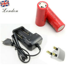 2x 26650 Rechargeable 6000mAh Li-ion Battery + 18650 CR123A Charger UK Stock