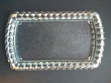 Vintage Heavy Clear Glass Vanity Dresser Tray w/Rope Design Edge Beautiful