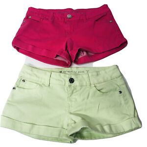 CELEBRITY PINK /Green Shorts Stretch Distressed Women's Size 3 Jrs Set Of #2