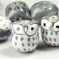 10 Pcs Gray Porcelain Owl Beads 17mm Pb0005