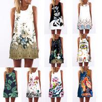 Women Summer Vintage Sleeveless Dress 3D Floral Print Bohe Tank Short Mini Dress