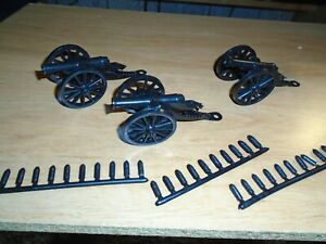 3 MARX FORT APACHE PLAYSET 54MM CANNONS AND 30 SHELLS