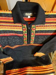 APLEKS NORWEGIAN Sweater XXS Nordic 1/2 zip Pullover 100% Wool Gorgeous!