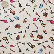 Pale Beige Floral and Gardening Tools Linen Look Style 100% Cotton.