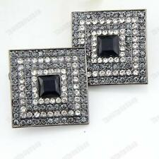 CLIP ON crystal BIG SQUARE ART DECO EARRINGS rhinestone BLACK/GREY jet CLIPS