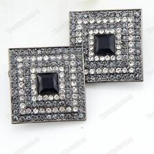 A clip cristallo Big Square Art Deco ORECCHINI CON STRASS NERO / GRIGIO JET Clip