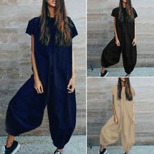 ZANZEA Womens Oversized Solid Baggy Jumpsuits Playsuits Wide Leg Loose Trouser