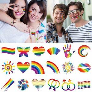 Body Art Tattoos Facial Stickers Rainbow Temporary Tattoo Arm Fake Tattoo