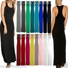 Women Ladies Jersey Long Summer Vest Racer Muscle Back Vest Maxi Dress Plus Size