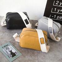 Wide Adjustable strap Messenger bag shoulder handbag PU zipper square 3 colors