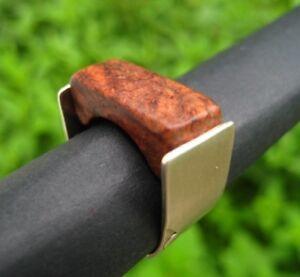Handgefertigt Olivenholz Bandring Größe 60 punziert Sterling Silber 925 Holz neu