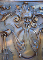 Antique French Architectural Blazon Hand Carved Solid Wood Door Wall Panel
