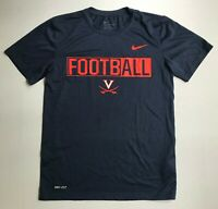 The Nike Tee Virginia UVA Football Dri-Fit Athletic Cut Mens Small Navy Orange
