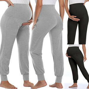Maternity Strentch Pants Pregnancy Womens Over Bump Comfy Full Length Trousers