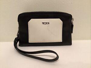 TUMI Double Zip Leather Wallet - Coin - Phone Case - Wristlet Black White