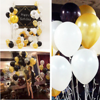 30 pcs Gold Silver Black Wedding Party Decor Latex Balloons Helium Air Balloons