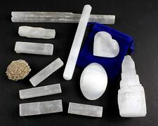 "Selenite Protection Collection: 2.5"" Sticks, Palm Stone, Heart, Tower, Wand Luck"
