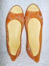 "Crocs ""Carlie"" Peep Toe Print Translucent Ballet Flats, Orange/Yellow, 12/10 9W"