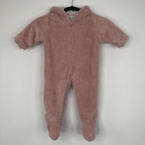 Baby Girls NEXT 9-12 Months Casual pink Fluffy Hooded Zip Pramsuit