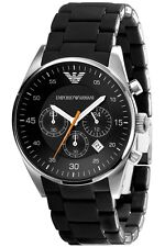 NEW EMPORIO ARMANI AR5858 BLACK MENS CHRONOGRAPH WATCH - 2 YEARS WARRANTY