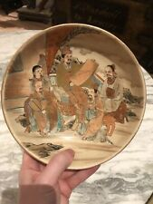 More details for japanese satsuma ware hand painted bowl taishō period. signed to reverse.