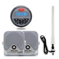 "Bluetooth Marine Radio Car Audio Gauge MP3 Player+4""Marine Speaker+FM AM Antenna"