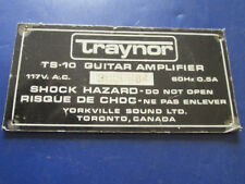 Vintage '60s-70s Traynor Canada TS-10 Guitar Amp Amplifier BACK MODEL PLATE !