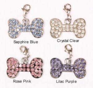 Crystal Bone Rhinestone Dog Collar Charm Lilac Purple Color Bark Avenue