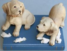 2 Puppies on a Bookwith Tissue Paper Figurine