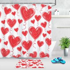 "Happy Valentine's Day Red Heart Balloons Shower Curtain Set Bathroom Decor 72"""