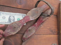Nice Early RED-PAINTED 1840 Antique WOODEN ICE SKATES, Antebellum, Americana