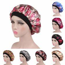 Women Wide Band Satin Bonnet Comfortable Ladies Night Sleep Hat Hair Cap Turban