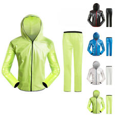 Men Women Waterproof Jacket Bicycle Outdoor Rain Coat + Pant Unisex Windproof