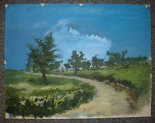 Paysage breton avec route, gouache de Christian Frain 1970