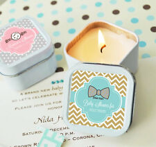 96 Personalized Square Tin Baby Theme Candles Candle Baby Shower Favors