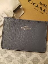 bb0c8c602698d COACH Wallet Coin Purse ID MINI SKINNY Leather Glitter Blue Key Chain New