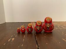 Vintage Matryoshka Russian Wooden Nesting Dolls Set of 5