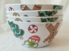 NEW St. Nicholas Square Melamine Christmas Snowman Tree Gingerbread Cereal Bowls