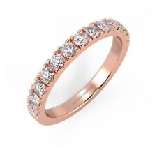 RRP £500 - Round Diamond Micro Pave Set Half Eternity Ring, Rose Gold