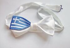 Hand Sewn Pre-tied Silk Bowtie 'greece,greek flag ' 2.5x4.9 inch (cx)