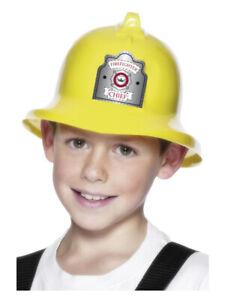 Child Firemans Helmet Hat Yellow Boys Plastic Fancy Dress Costume Accessory