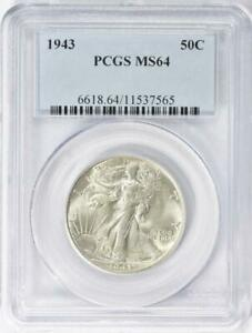 1943  Walking Liberty Silver Half Dollar - PCGS MS-64 - Mint State 64
