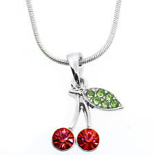 """Red and Green Color Cherry Charm Pendant with Pink Crystals and 16"""" Chain"""