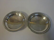 2 VINTAGE FRIEDMAN SILVER DRAGON D INTIAL DESIGN BAR COASTERS MARKED 610