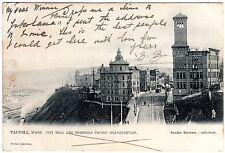 R. TUCK POSTCARD CITY HALL & NORTHERN PACIFIC RAILWAY HEADQUARTERS-TACOMA 1905