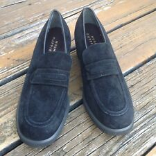 Vtg Hush Puppies Womens Sz 10 Black Suede Slip On Chunky Loafers Dress Shoes