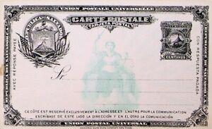 EL SALVADOR 1891 3c UPU UNUSED POSTAL STATIONERY CARD