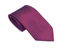 Men's red and off white geometric stripped   woven tie