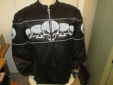 Xelement Leather Motorcycle Jacket With Skulls mens new wt size-large