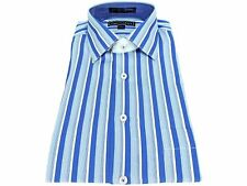 Paul Fredrick Men's Long Sleeves 100% Cotton Casual Shirts Blue Striped Size M